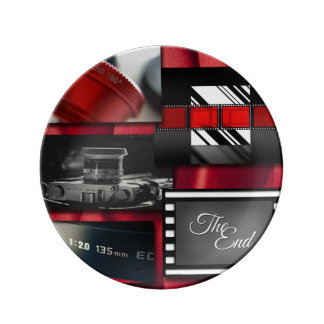 Red Black & White Film Collage Plate