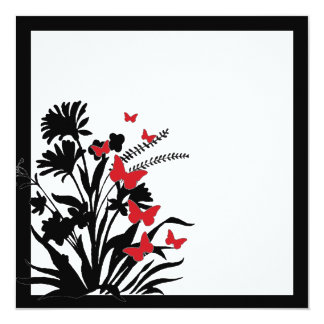 Red black white flower butterfly wedding invites