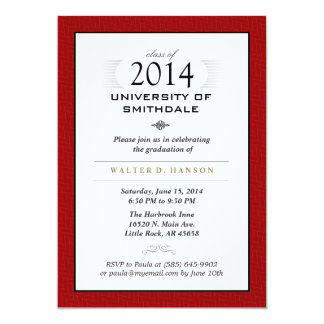 Red Black & White Formal Graduation Party Invite