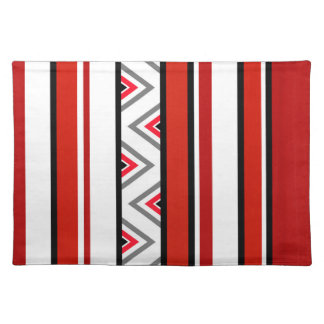 Red Black White Geometric Stripes Placemat