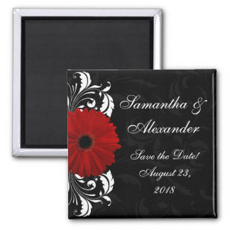 Red+Black+White Gerbera Daisy Save the Date /Favor Magnet