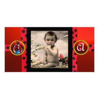RED BLACK WHITE LADYBUG MONOGRAM PHOTO TEMPLATE PHOTO GREETING CARD
