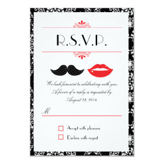 "Red, Black & White Mustache & Lips Damask RSVP 3.5"" X 5"" Invitation Card"