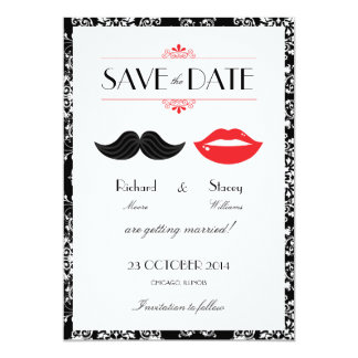 "Red, Black & White Mustache & Lips Damask Wedding 5"" X 7"" Invitation Card"