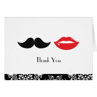 Red, Black & White Mustache & Lips Damask Wedding Card