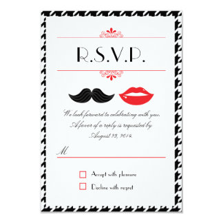 Red, Black & White Mustache & Lips Houndstooth Wed Card