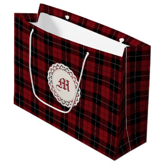 Red Black White Plaid Large Gift Bag
