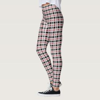Red black white plaid leggings