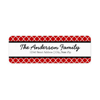 Red Black & White Quatrefoil - Address Labels