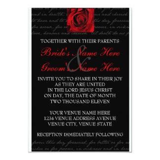 Red, Black, White, Rose Invitation