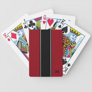 Red black white stripe   Monogram Black Bicycle Playing Cards