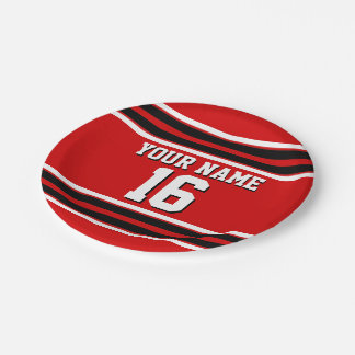 Red Black White Team Jersey Custom Number Name Paper Plate