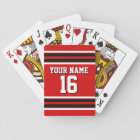 Red Black White Team Jersey Custom Number Name Playing Cards