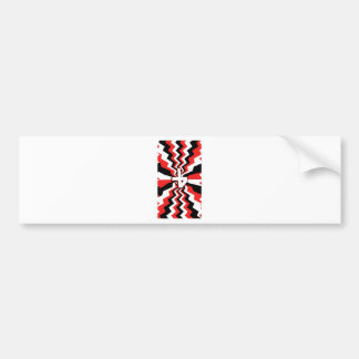Red, Black, & White Zigzag Burst Printed Bumper Sticker