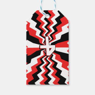 Red, Black, & White Zigzag Burst Printed Gift Tags