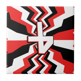 Red, Black, & White Zigzag Burst Printed Tile