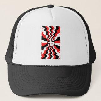 Red, Black, & White Zigzag Burst Printed Trucker Hat
