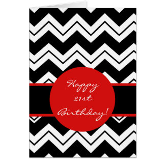 Red Black & White Zizzag Chevron 21st Birthday Card