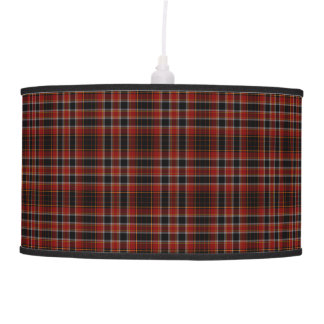 Red Black Yellow Gold Tartan Plaid Pendant Lamp