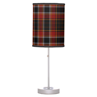 Red Black Yellow Gold Tartan Plaid Table Lamp