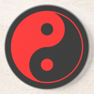 Red & Black Yin Yang Symbol Coaster