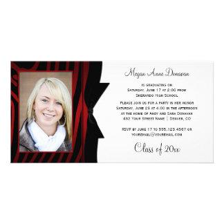 Red Black Zebra Print Photo Graduation Party Picture Card