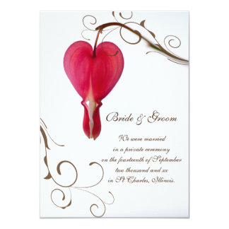 Red Bleeding Heart Marriage / Elopement Announce Card