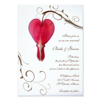 Red Bleeding Heart Wedding Invitation