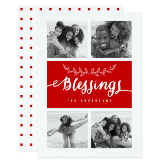 Red Blessings Photo Collage Christmas Holiday Card