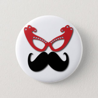 red bling glasses with mustache 2 inch round button