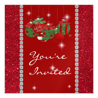 "RED BLING HOLIDAY  Invitation 5.25"" Square Invitation Card"