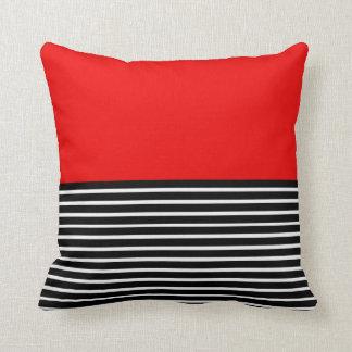 Red Block Black White Stripes Throw Pillow