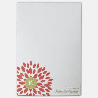 Red Blooming Blossom with Green Monogram Post-it Notes