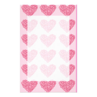 Red blooming flowers hearts stationery