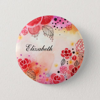 Red Blooms Custom Name Button