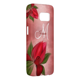 Red Blooms on Red Samsung Galaxy S7 Case