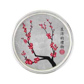 "Red blossom delight ""Gift of life"" Lapel Pin"