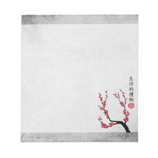 "Red blossom delight ""Gift of life"" Notepad"