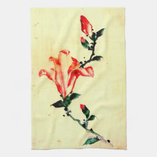 Red Blossom with Buds 1840 Kitchen Towel