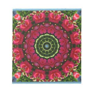 Red Blossoms Nature, Flower-Mandala Notepad