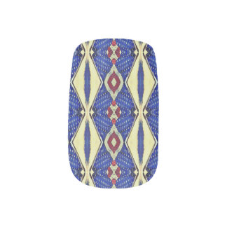 Red Blue Abstract Art Deco Nail Art Wraps Decals
