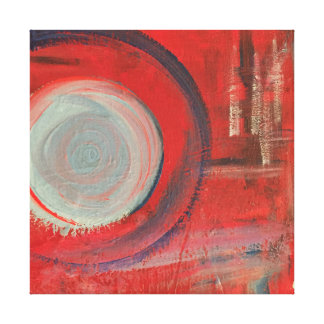 Red Blue Abstract Swirl Flow Painting Canvas Print