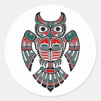 Red Blue and Black Haida Spirit Owl Round Sticker