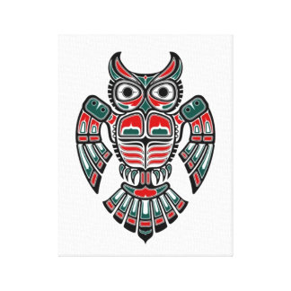 Red Blue and Black Haida Spirit Owl Stretched Canvas Prints
