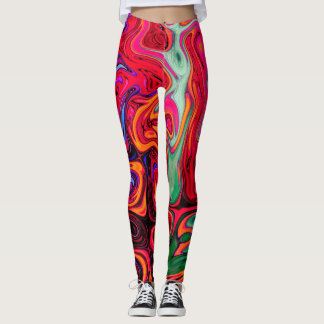 Red, Blue and Green Abstract Swirls Pattern Leggings