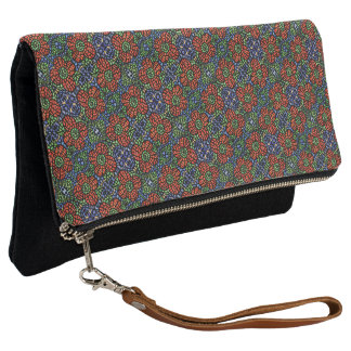 Red Blue And Green Floral Pattern Clutch