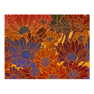 Red Blue And Orange Flowers Postcard