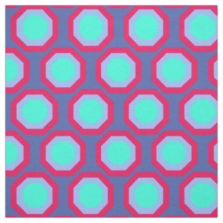 Red, blue and turquoise geometrical fabric