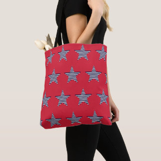 Red Blue And White Striped Star Pattern Tote Bag