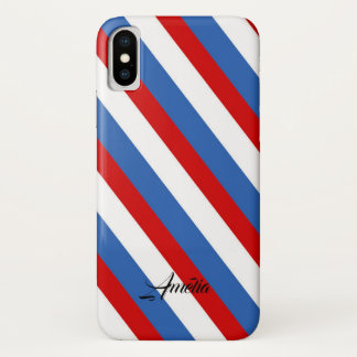 Red Blue and White Stripes Monogram iPhone X Case